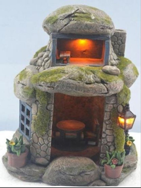 STONE SOLAR FAIRY HOUSE WITH EXTERNAL LIGHT  OUTDOOR 21cm/ 8.5 INCH