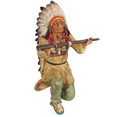 KNEELING RED INDIAN CHIEF GIVING GIFT TO GOD ORNAMENT 28CM