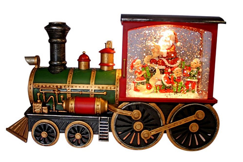 CHRISTMAS LIGHT UP TRAIN WITH SANTA WATER SPINNER WATERBALL WITH ELVES