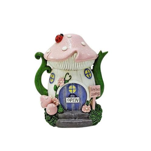 COTTON CANDY POLY RESIN PINK MUSHROOM TEAPOT MONEY BOX 18CM