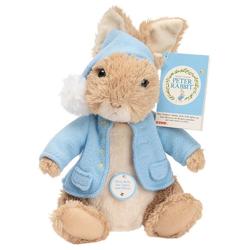 ANIMATED BEDTIME PETER RABBIT PLAYS BRAHMS LULLABY AND LIGHTS UP GUND 12+ MONTHS