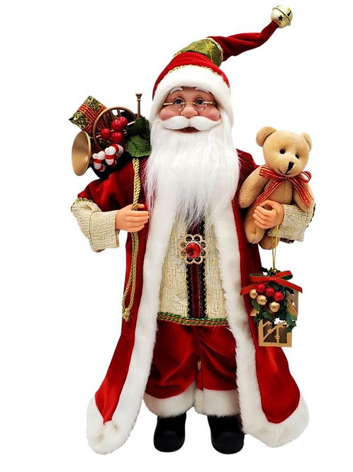 MOVING MUSICAL SANTA WITH TEDDY BEAR AND SACK WIND UP PLAYS MUSIC