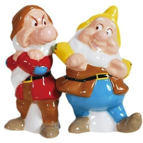 DISNEY GRUMPY AND HAPPY SALT AND PEPPER MAGNETIC SHAKERS