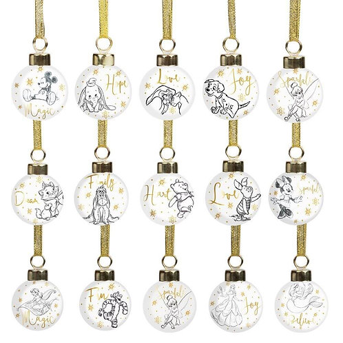 DISNEY CERAMIC MINI BAUBLE SET IN BOX FEATURING YOUR FAVOURITE DISNEY CHARACTERS