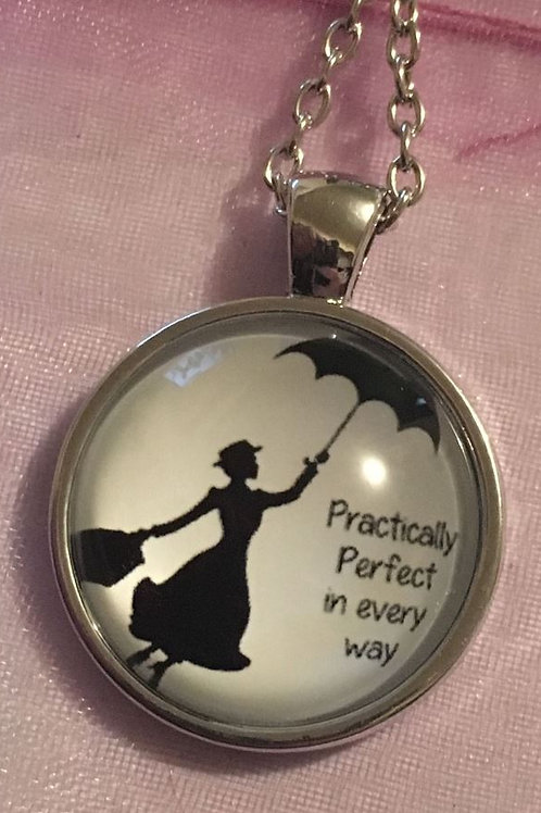 MARY POPPINS PRACTICALLY PERFECT GLASS DOMED CABOCHON NECKLACE