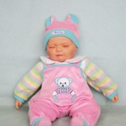 REALISTIC SLEEPING BABY DOLL CHARLOTTE IN BODY SUIT AND BEANIE 51CM