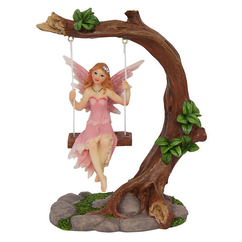 FAIRY ON A TREE SWING ORNAMENT PINK OR PURPLE 14CM