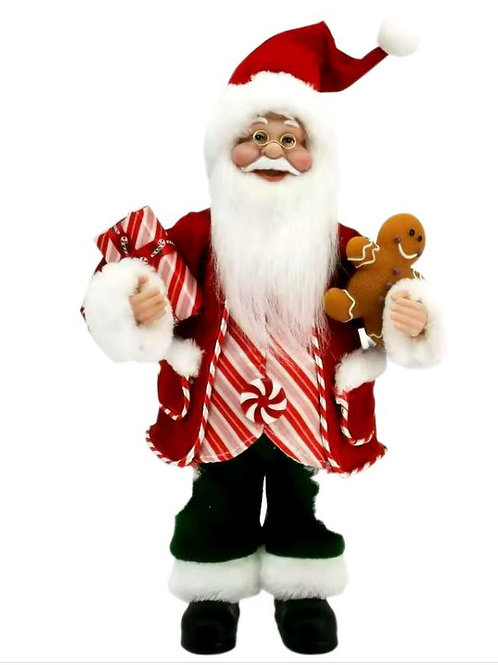 CANDY CANE SANTA WITH GINGERBREAD MAN AND PRESENT RED COAT AND GREEN PANTS 30CM