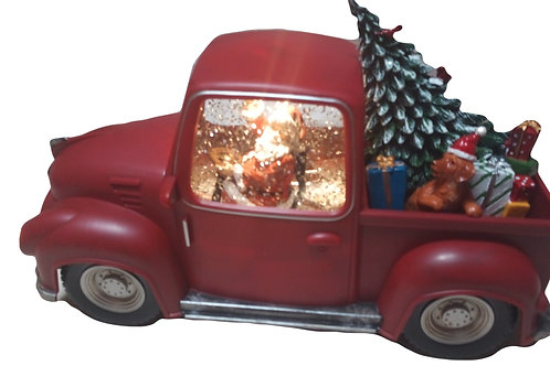 CHRISTMAS LIGHT UP UTE WITH SANTA WATER SPINNER WATERBALL WITH TREE AND DOG
