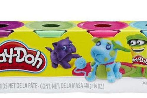 PLAY DOH CLASSIC 4 PACK PLAYDOH ASSORTED COLOURS BLUE, PINK, GREEN, PURPLE