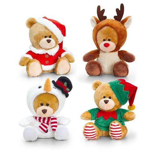 KEEL TOYS PIPP THE BEAR CHRISTMAS SNOWMAN, SANTA, REINDEER, ELF 14CM