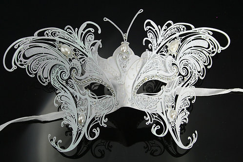 VENETIAN STYLE WHITE BUTTERFLY MASK WITH METAL And DIAMANTES