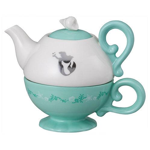 DISNEY LITTLE MERMAID ARIEL CERAMIC TEA SET FOR ONE TEAPOT TEA CUP GIFT BOXED