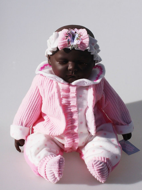 REALISTIC SLEEPING BABY DOLL KARRI IN BODY SUIT HEADBAND AND JACKET 51CM