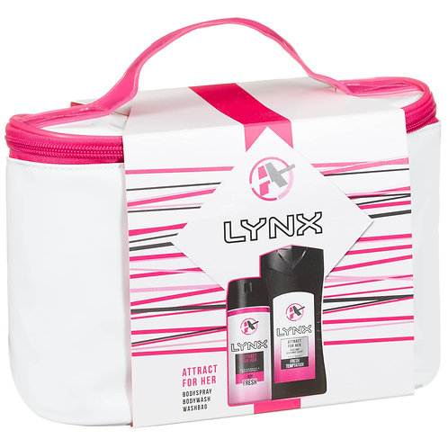LYNX ATTRACT FOR HER GIFT PACK BODY WASH , BODY SPRAY AND WASH BAG
