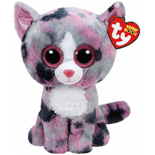 LINDI THE PINK AND GREY CAT TY BEANIE BOOS