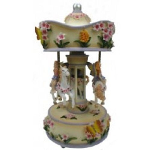 "FLORAL MUSICAL CAROUSEL 26CMS/ 10"" PLAYS THE CAROUSEL WALTZ GIFT PRESENT"