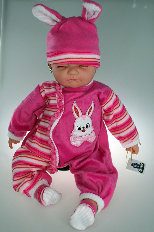 REALISTIC SLEEPING BABY DOLL CHELSEA IN BODY SUIT AND BEANIE 51CM