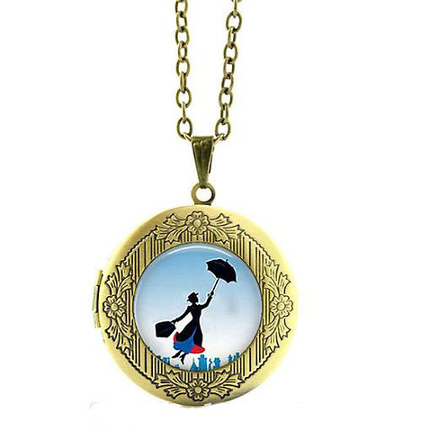 VINTAGE STYLE MARY POPPINS ANTIQUE BRONZE PLATED LOCKET