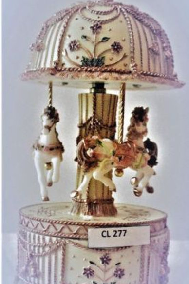 GOLD AND CREAM 17CM 3 HORSE CAROUSEL TRINKET JEWELLERY BOX PLAYS EDELWEISS