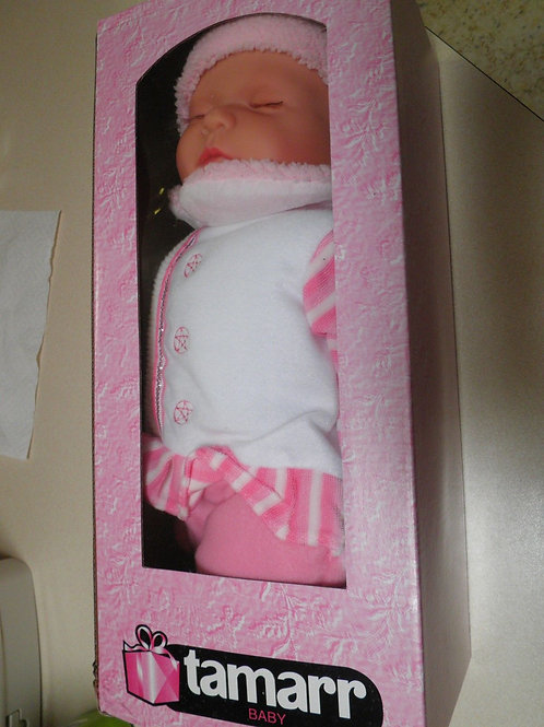 REALISTIC SLEEPING BABY DOLL RUBY IN BODY SUIT AND BEANIE 51CM