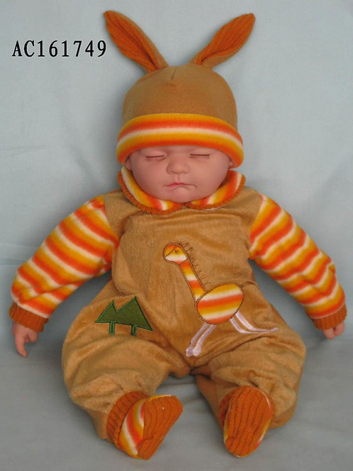 REALISTIC SLEEPING BABY DOLL COOPER IN BODY SUIT AND BEANIE 51CM