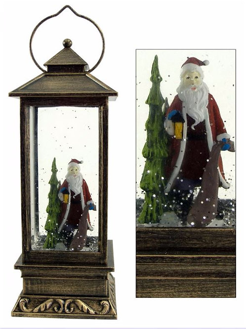 SANTA AND TREE TRADITIONAL LANTERN LED SNOW GLOBE LIGHTS UP AND GLITTER