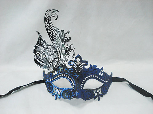 VENETIAN STYLE BLACK AND BLUE WITH METAL DESIGN MASK WITH METAL