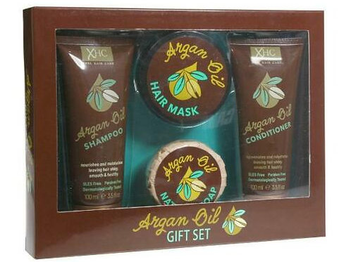 XHC ARGAN OIL GIFT SET SHAMPOO , CONDITIONER , HAIR MASK SOAP SLES & PARABEN FR