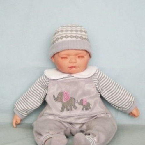 REALISTIC SLEEPING BABY DOLL NOAH IN BODY SUIT AND BEANIE 51CM