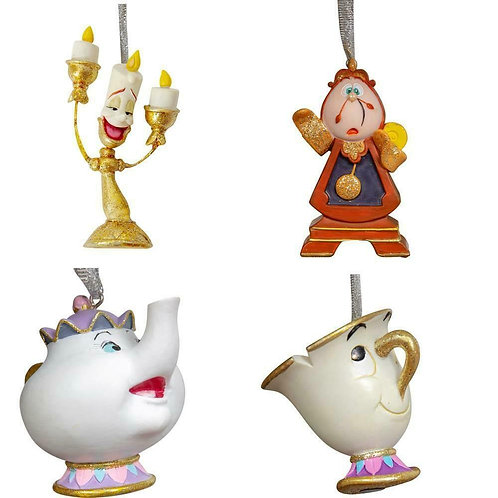 DISNEY BEAUTY AND THE BEAST 3D CHRISTMAS TREE HANGING ORNAMENTS