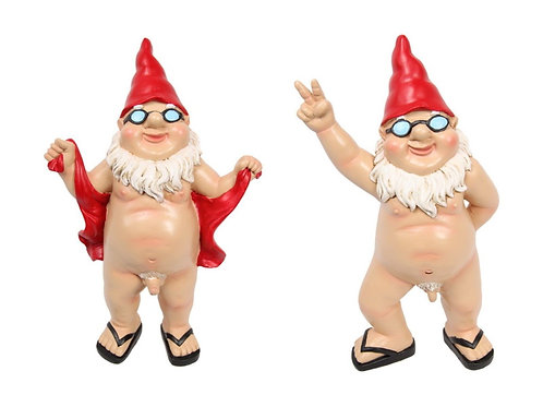PAIR OF 29CM FLASHER NAKED GNOMES STANDING AND POSING