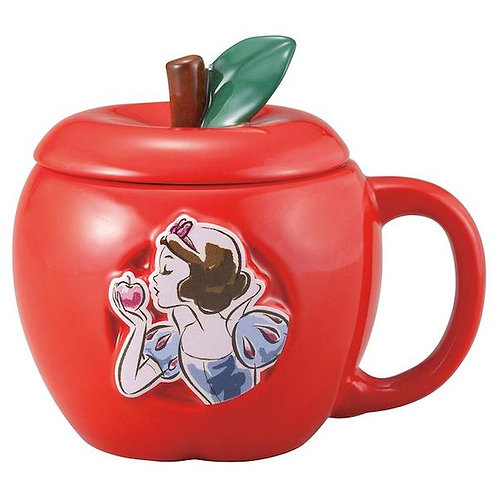 DISNEY SHOW WHITE CERAMIC APPLE MUG WITH LID