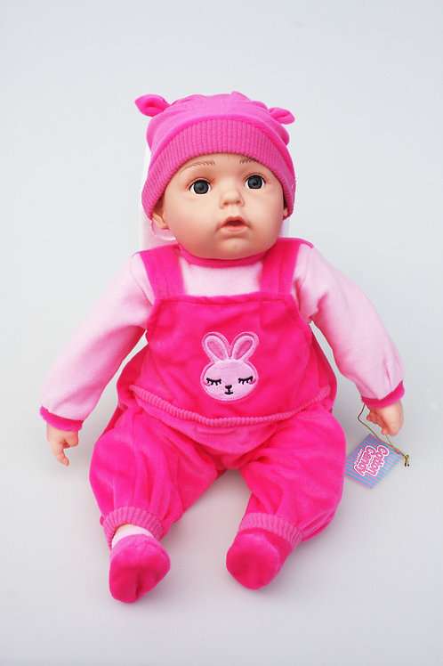 REALISTIC WIDE AWAKE BABY DOLL ELIZA IN BODY SUIT AND BEANIE 51CM