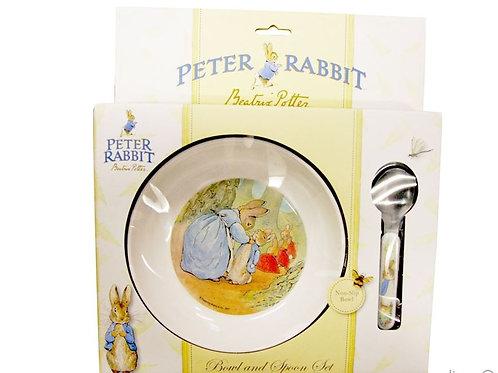 BEATRIX POTTER PETER RABBIT CLASSIC BOWL AND SPOON SET