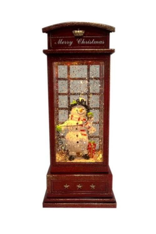 RED TELEPHONE BOX CHRISTMAS LANTERN SNOWMAN LIGHT UP WITH GLITTER