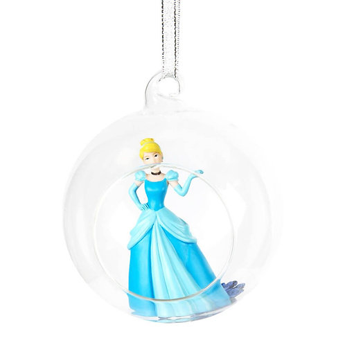 DISNEY PRINCESS GLASS CHRISTMAS TREE BAUBLE WITH CINDERELLA GIFT BOXED