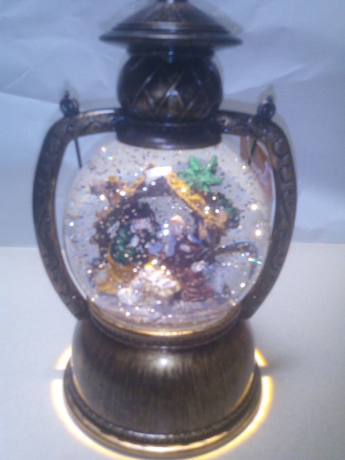 CHRISTMAS LIGHT UP ROUND LANTERN NATIVITY SCENE