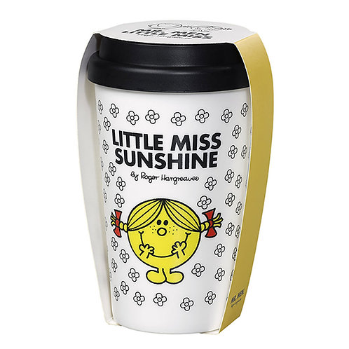 LITTLE MISS SUNSHINE DOUBLE WALL TRAVEL MUG 414ML WITH SILICON LID