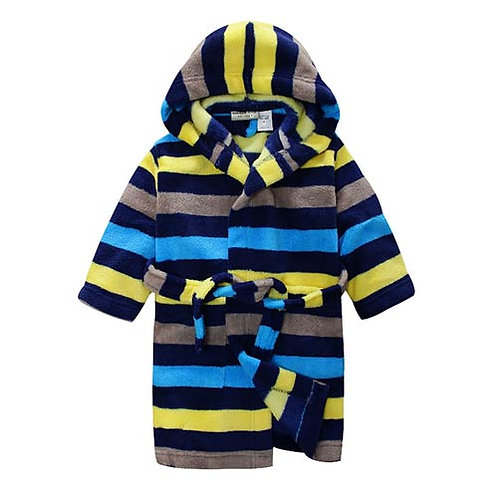 BOYS HOODED CORAL FLEECY DRESSING GOWN BNWT SIZES 3 , 4 ,5, 6 AND 7