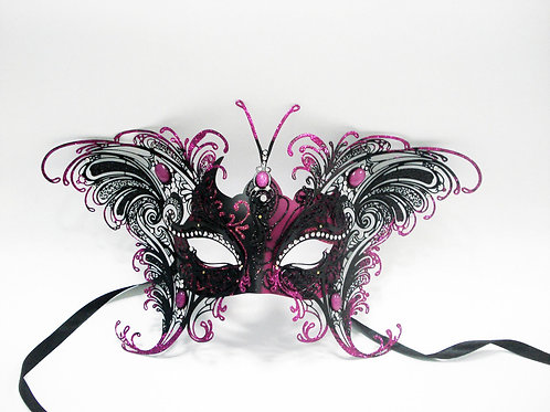 VENETIAN STYLE BLACK AND PINK BUTTERFLY DESIGN MASK WITH METAL