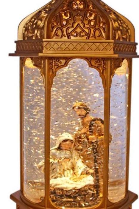 NATIVITY SCENE CHRISTMAS LANTERN JOSEPH, MARY AND JESUS LIGHT UP WITH GLITTER