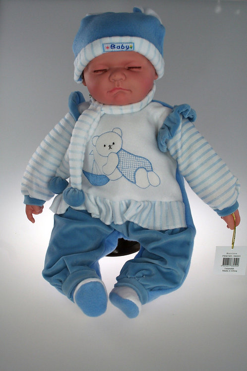 REALISTIC SLEEPING BABY DOLL HARRISON IN BODY SUIT AND BEANIE 51CM