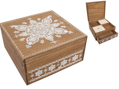 BOHO MANDALA WOODEN JEWELLERY BOX 20CM x 20CM