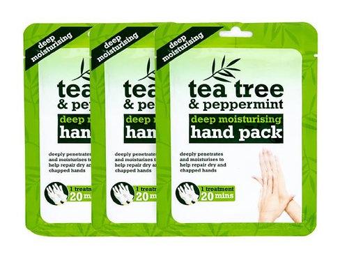 3 X TEA TREE & PEPPERMINT DEEP MOISTURISING HAND PACK INTENSIVE TREATMENT GLOVES
