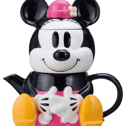 DISNEY MINNIE MOUSE TEA FOR ONE THREE PIECE SET TEA POT , CUP , LID LICENSED