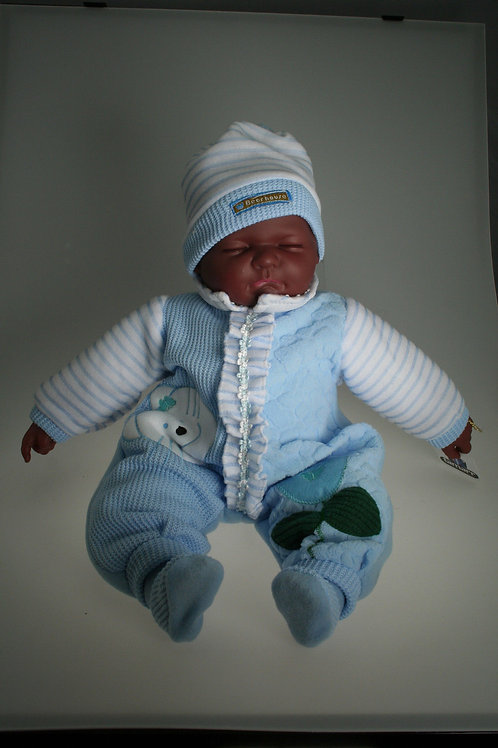 REALISTIC SLEEPING DARK SKIN BABY DOLL ETHAN IN BODY SUIT AND BEANIE 51CM