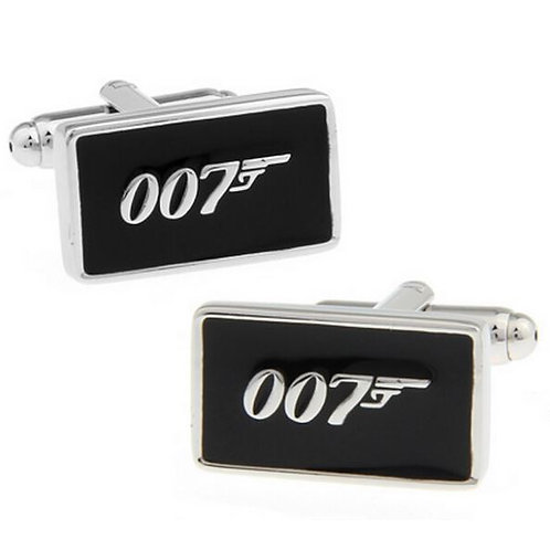 007 JAMES BOND BLACK ENAMEL SILVER NOVELTY CUFFLINKS