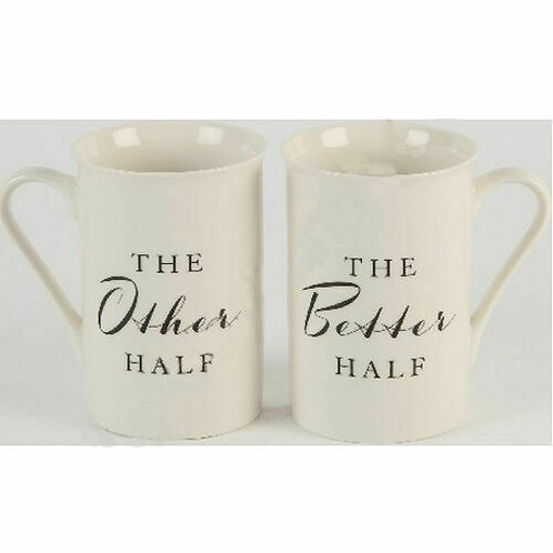 WIDDOP & CO AMORE THE OTHER HALF THE BETTER HALF COFFEE TEA 11CM MUG BOXED SET