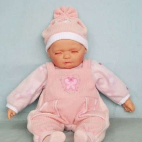 REALISTIC SLEEPING BABY DOLL CHLOE IN BODY SUIT AND BEANIE 51CM